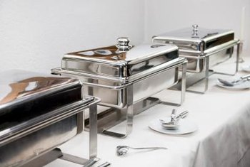 Traditional wire chafing dishes have a formal look.