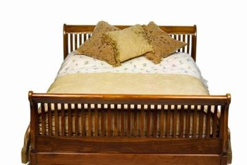 Refurbished wood beds can be left unpainted to highlight the beauty of the wood.