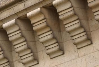 Originally, cornice brackets were made from concrete or stone.