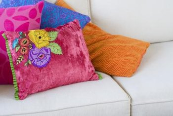 Throw pillows in bold, bright colors suit the bohemian decorating style.