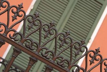 Wrought-iron railings adorn many windows in New Orleans.