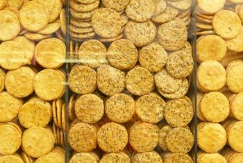 Multi-grain crackers made with whole grains contain beneficial fiber.