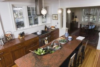 Laminated countertops can be painted to mimic granite.