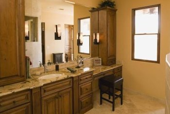 Decorate A Light Wood Bathroom In A Monochromatic Color Palette.