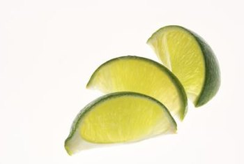 The Mexican lime tree produces small green and yellow-green limes.