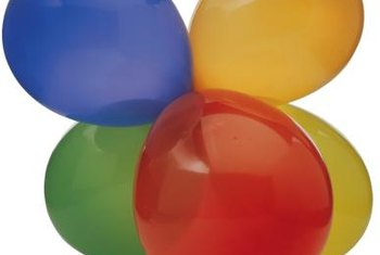 Grouped balloons create the structure for a balloon arch.