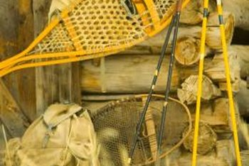 Old snowshoes also add a vintage, mountain look to a home's exterior.