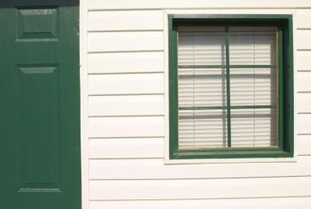 Vinyl siding looks like horizontal wooden slats.