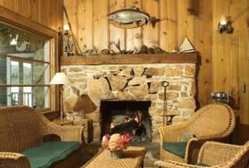 Wood trim on wood walls provides country charm with rustic warmth.