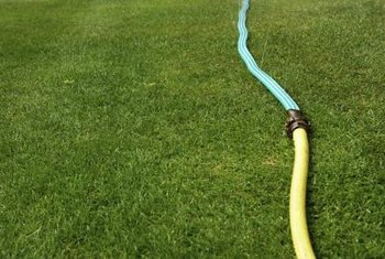 A flat garden hose takes up less space than a standard hose.