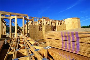 Exterior plywood is used for sheathing over studs.
