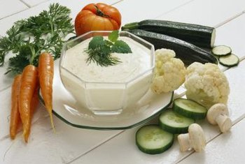 Ranch dressing can add a lot of calories and fat to vegetables.
