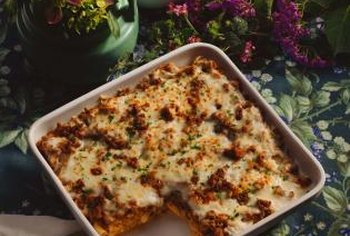 Lasagna with meat and cheese is a high-protein, high-carbohydrate choice.