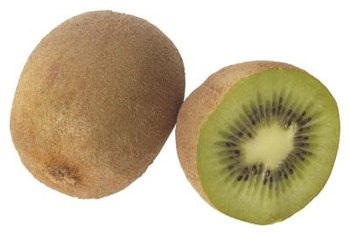 Kiwi fruits are produced by the female vines in autumn if the flowers are pollinated.