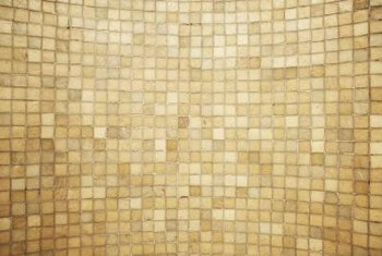 Peach and brown bathroom tile veers toward warm or cool tones.