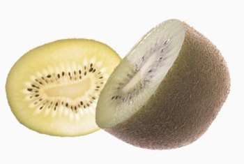 Fuzzy kiwi varieties produce oblong, brown, furry fruit with green or yellow interiors.