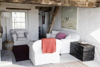 Shabby chic without frills blends well with rustic decor.