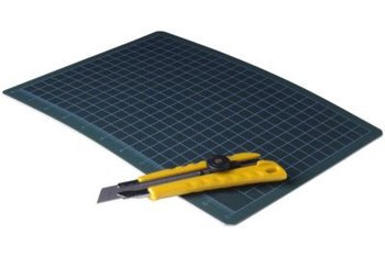 A vinyl cutting mat protects your table and countertops from the utility knife's blade.
