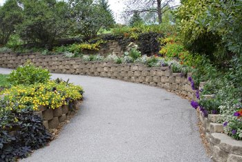 Retaining walls keep a hill in place in landscaping or construction.