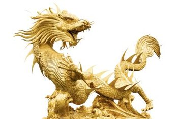 A golden Chinese dragon both protects and brings prosperity.