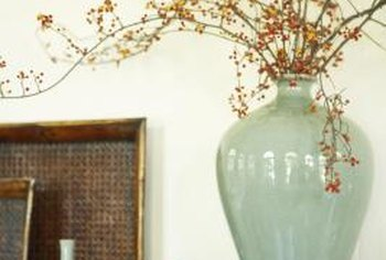 Decorate A Foyer Shelf With Colorful Vases