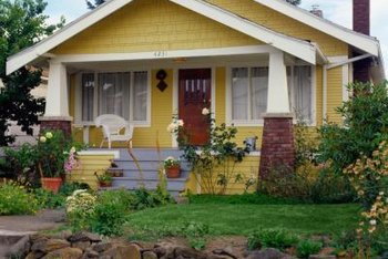 Purple-gray porches complement yellow siding, especially if doors and trim feature purple-gray.