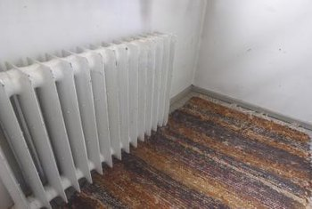 Radiators emit heat from hot water flowing through them.