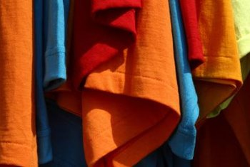 Salvaged T shirts are a good source for colorful jersey knit fabric.