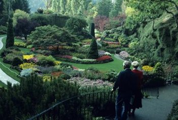 The famous Butchart Gardens on Vancouver Island feature glorious flower beds in the landscape scheme.