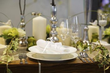 Add decorations and candles to create a pleasant atmosphere for a six-course meal.