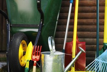 Essential tools for gardening include a shovel, spade and rake.