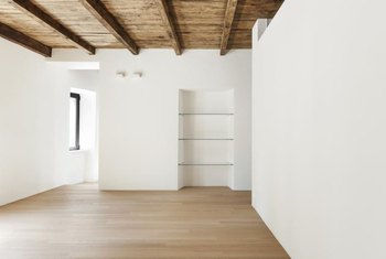 Ceiling beams can make a short room seem longer.