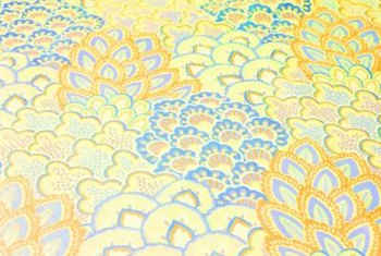 This canary yellow and blue fabric offers eye-pleasing 1950s patterns.