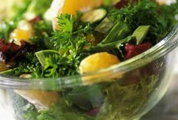 Leafy greens and citrus fruits provide folate.