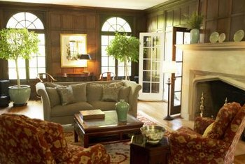 A fireplace adds architectural details that enhance seating arrangements.