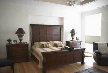 Brown Wood Furniture And Gray Walls Create A Soothing Balance Of Cool Warm Tones