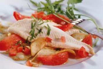 Serve oven-poached cod or other white fish with fresh salads for a healthful lunch option.
