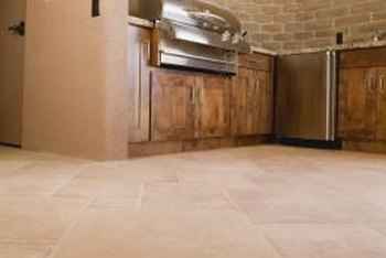 The grout between kitchen tiles can become discolored from grease.