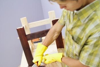 Wear rubber gloves to keep the stain from coloring your skin.