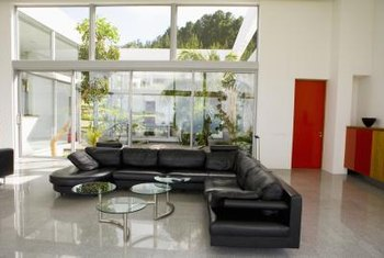 Leather sectional sofas create conversation areas in homes.
