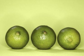 Limes resemble lemons, but have a yellow-green color.