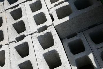 Concrete blocks are used for retaining walls at underground parking areas.