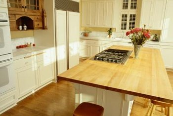 Typical laminate countertop overhang is between 6 and 12 inches.