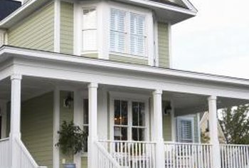 Clear white trim provides an attractive contrast to green paint.