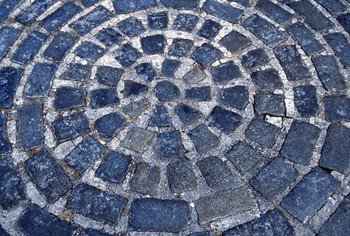 Cut or worn-down cobblestone can be used for patios.