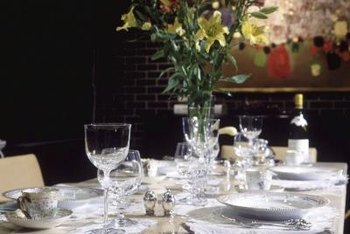 A formal dinner tablescape is simple and elegant.