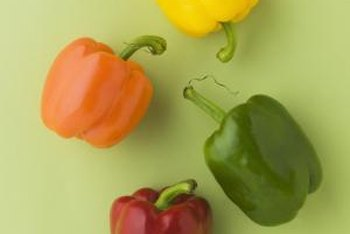 Sweet peppers come in many colors including yellow, orange, green and red.