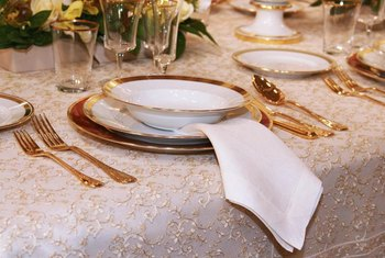 Bone china and porcelain often have gold or metallic touches added to the plates.