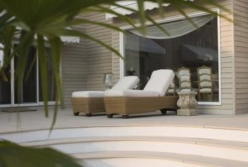 Patio seat cushions add comfort to outdoor benches and chairs.