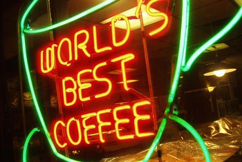 "Advertising often communicates a brand's distinctive claim, such as ""world's best coffee."""